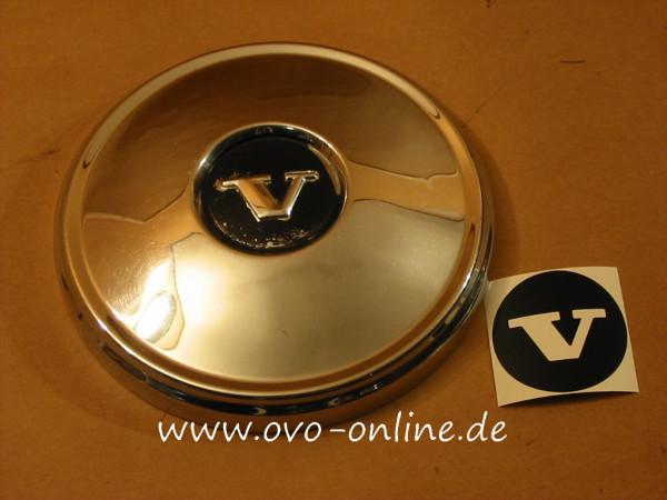 """Schwarzer """"V""""- Aufkleber für die Radkappen"""