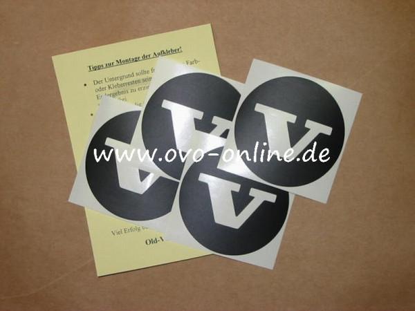 """Schwarzer """"V""""-Aufkleber für die Radkappen (Satz)"""